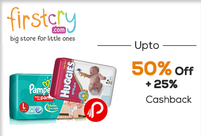Babies Diapers Upto 50% Off + 25% cashback - FirstCry