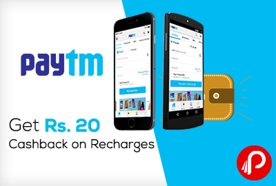 Get Rs 20 Cashback on Recharges (Paytm)