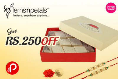 Get Rs. 250 off on Half kg Kaju Sweets & 2 Rakhis - Fernsnpetal