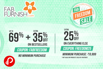 FabFurnish Freedom Sale up to 69% Off + Extra 35% Off on BestSellers - Fabfurnish