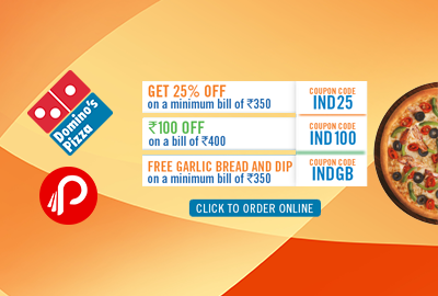 Get 25% flat off on rs.350 billing and rs.100 off on 400 billing -Domino
