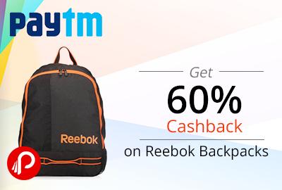 Get 60% Cashback on Reebok Backpacks - Paytm