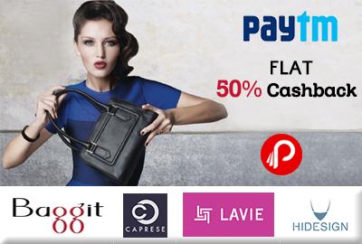 Get Flat 50% Cashback on Premium Brand HandBags - Paytm