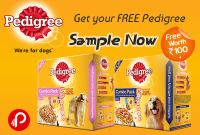 Get a Dog Food FREE 100Rs. worth Pedigree Sample - Pedigree