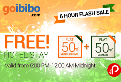 Big Dicount Flat 50% Off + 50% CashBack On Domestic Hotels - Goibibo