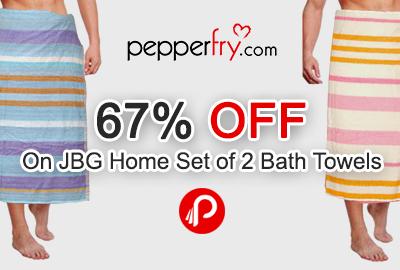 Get 67% off on JBG Home Set of 2 Bath Towels
