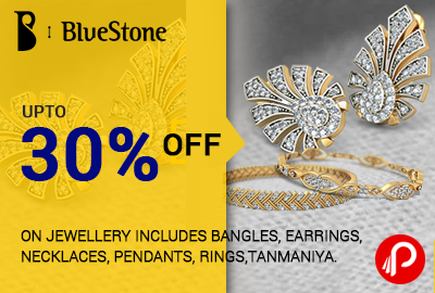 Get UPTO 30% off on Jewellery includes bangles, earrings, necklaces, pendants, rings, tanmaniya