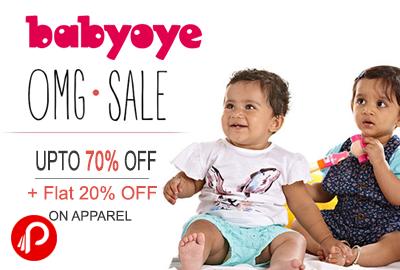 Get Upto 70% off + Flat 20% Off on Apparel - BabyOye