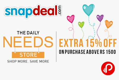 Get Extra 15% off on purchase above 1500 - Snapdeal