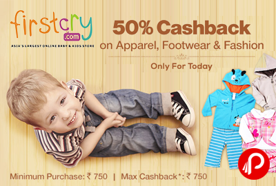 Get 50% Cashback on Clothes, Shoes & Apparel - Firstcry