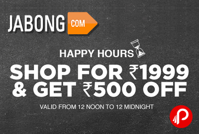 Get Rs.500 Off on Rs.1999 shopping – Jabong