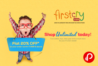 Get Flat 20% off on order worth Rs.1499 & above - FirstCry