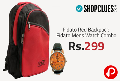 Fidato Red Backpack Fidato Mens Watch Combo Rs. 299 - ShopClues