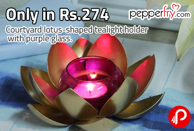 Only in Rs.274 Courtyard lotus-shaped tealight holder with purple glass