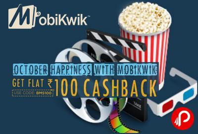 Mobikwik Flat INR 100 Cashback on BookMyShow