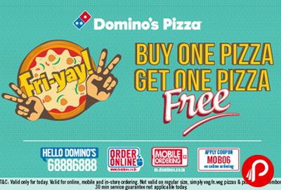 Buy 1 Get 1 Free offer + 15% Cashback on Dominos Pizza