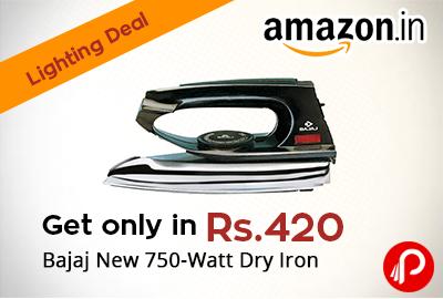 Get only in ₹ 420 Bajaj New 750-Watt Dry Iron - Amazon