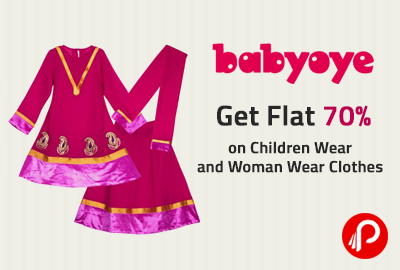 Get Flat 70% on Children Wear and Woman Wear Clothes - Babyoye