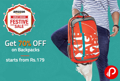 Get 70% off on Backpacks starts from Rs.179 - Amazon