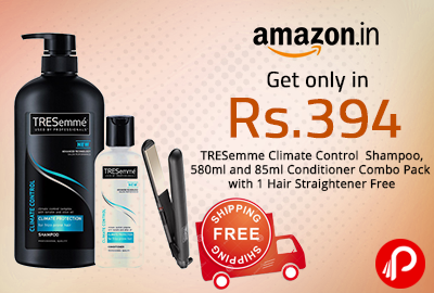 Get only in Rs.394 TRESemme Climate Control Shampoo, 580ml and 85ml Conditioner Combo Pack with 1 Hair Straightener Free - Amazon