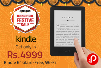 """Get only in Rs. 4999 Kindle 6"""" Glare-Free, Wi-Fi - Amazon"""