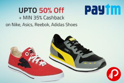 UPTO 50% Off + MIN 35% Cashback on Nike, Asics, Reebok, Adidas Shoes - Paytm