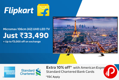 Get Micromax 42C0050UHD 106 cm (42) LED TV only in Rs.33490 - Flipkart