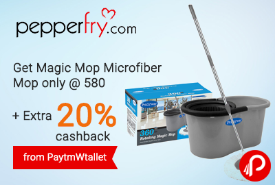 Get Magic Mop Microfiber Mop only @ 580 + Extra 20% cashback from PaytmWallet - Pepperfry