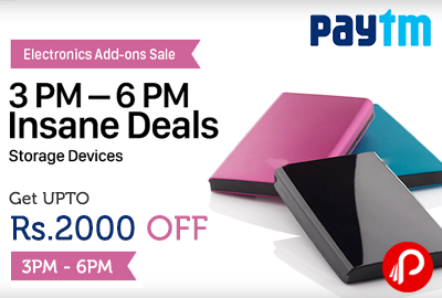Get UPTO Rs. 2000 off Insane Deals on Storage Devices Electronic Add Ons Sale | 3PM - 6PM - Paytm