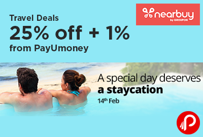 Travel Deals 25% off + 1% from PayUmoney - Nearbuy