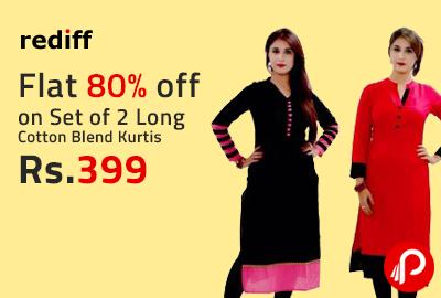 Flat 80% off on Set of 2 Long Cotton Blend Kurtis @ 399 - Rediff