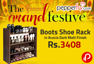 Boots Shoe Rack in Acacia Dark Matt Finish at Rs.3408 - Pepperfry