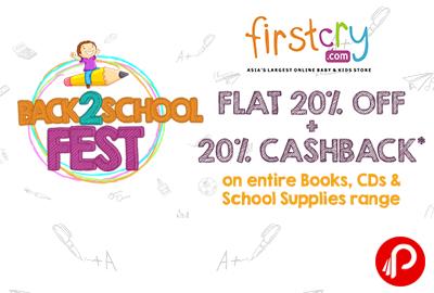 Books, CDs, School Supplies Flat 20% off + 20% cashback - Firstcry