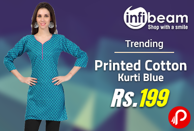Printed Cotton Kurti Blue at Rs.199 | Trending - InfiBeam