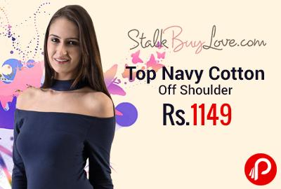 Top Navy Cotton Off Shoulder at Rs.1149 - StalkBuyLove