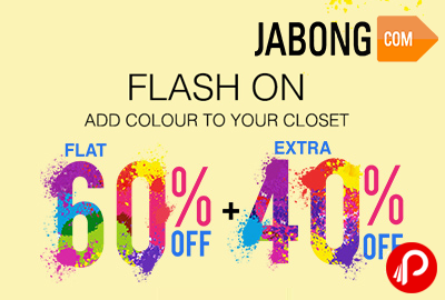 Flash On Flat 60% off + Extra 40% off 11AM - 2PM only - Jabong