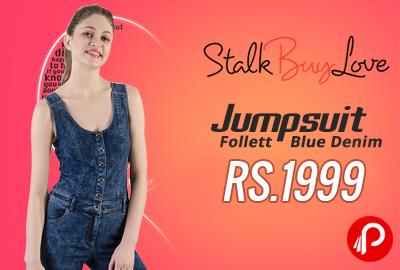 Jumpsuit Follett Blue Denim at Rs.1999 - StalkBuyLove