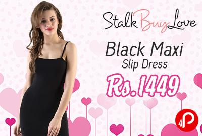 Black Maxi Slip Dress at Rs.1449 - StalkBuyLove