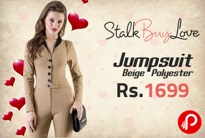 Jumpsuit Beige Polyester at Rs.1699 - StalkBuyLove
