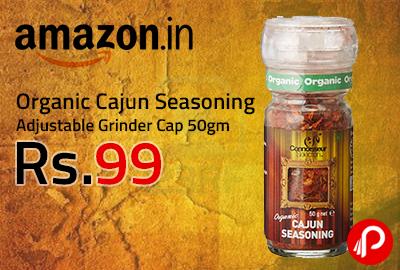 Organic Cajun Seasoning Adjustable Grinder Cap 50gm at Rs.99 - Amazon