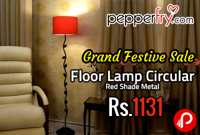 Floor Lamp Circular Red Shade Metal at Rs.1131 - Pepperfry