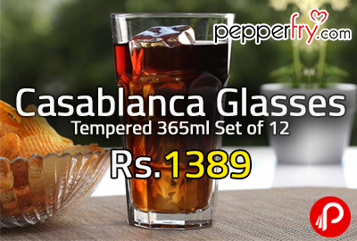 Casablanca Glasses Tempered 365ml Set of 12 at Rs.1389 - Pepperfry