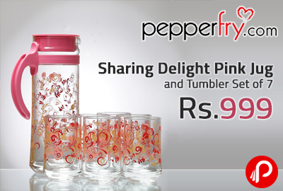 Sharing Delight Pink Jug and Tumbler Set of 7 at Rs.999 - Pepperfry