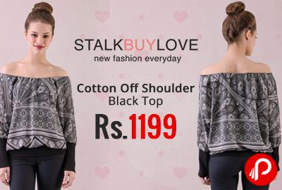 Cotton Off Shoulder Black Top at Rs.1199 - StalkBuyLove