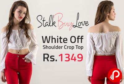 White Off Shoulder Crop Top at Rs.1349 - StalkBuyLove