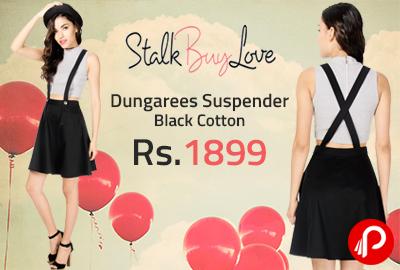 Dungarees Suspender Black Cotton at Rs.1899 - StalkBuyLove
