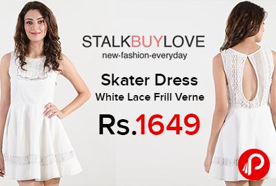 Skater Dress White Lace Frill Verne just Rs.1649 - StalkBuyLove