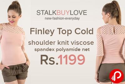 Finley Top Cold shoulder knit viscose spandex polyamide net just at Rs.1199 - StalkBuyLove