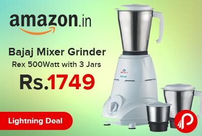 Bajaj Mixer Grinder Rex 500Watt with 3 Jars Just Rs.1749 - Amazon