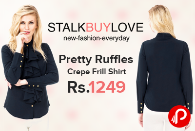 Pretty Ruffles Crepe Frill Shirt just Rs. 1249 - StalkBuyLove